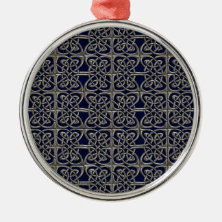 Silver And Blue Connected Ovals Celtic Pattern Metal Ornament