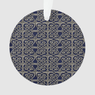 Silver And Blue Connected Ovals Celtic Pattern Ornament