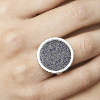 Silver And Blue Connected Ovals Celtic Pattern Ring