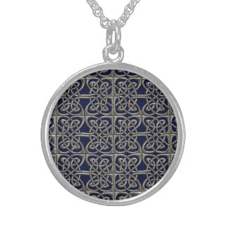 Silver And Blue Connected Ovals Celtic Pattern Round Pendant Necklace