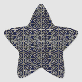 Silver And Blue Connected Ovals Celtic Pattern Star Stickers