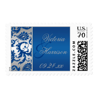 Silver and Blue Damask Wedding Postage