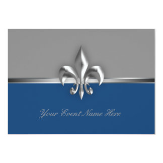 Silver and Blue Fleur de Lis Event Card
