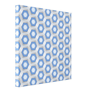 Silver and Blue Hex Tiled Canvas