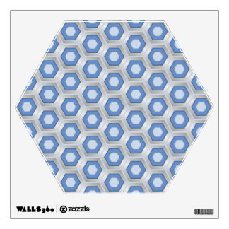 Silver and Blue Hex Tiled Wall Decal