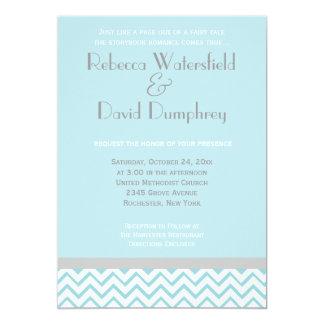 Silver and Blue Modern Chevron Wedding Invitation