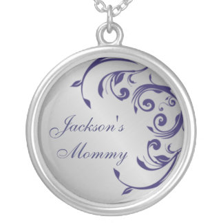 Silver and Blue Mommy Necklace
