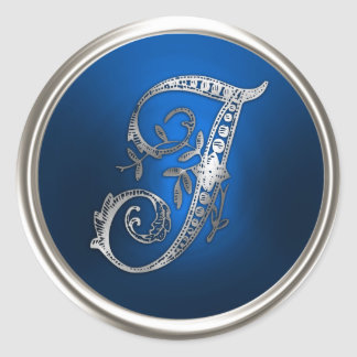 Silver and Blue Monogram I Envelope Seal Classic Round Sticker