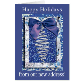 Silver and Blue Ornament, Happy Holidays from our Greeting Card