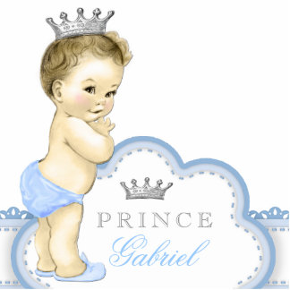 Silver and Blue Prince Baby Boy Statuette
