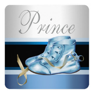 Silver and Blue Prince Baby Shower Card