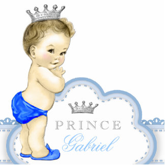 Silver and Blue Prince Baby Shower Statuette