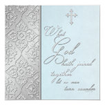 "Silver and Blue Scrolled Wedding Invitation 5.25"" Square Invitation Card"