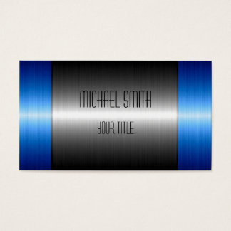 Silver and Blue Stainless Steel Metal Business Card