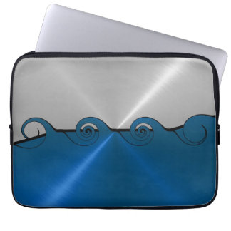 Silver and Blue Stainless Steel Metal Swirl 2 Laptop Sleeve