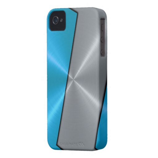 Silver and Blue Stainless Steel Metallic Case-Mate iPhone 4 Cases