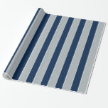 Silver And Blue Stripes Gift Wrap Paper