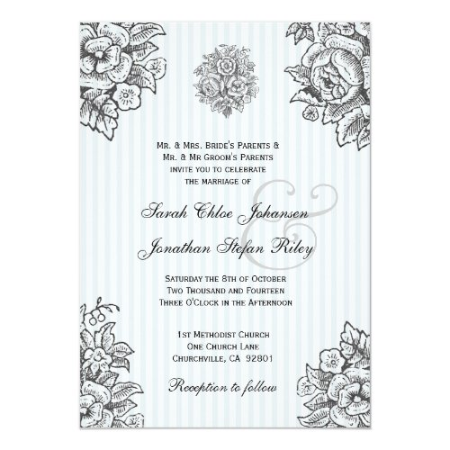 Silver &Blue Vintage Flowers Wedding Invitation