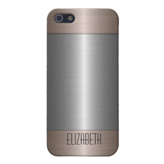 Silver and Bronze Stainless Steel Metal 2 iPhone 5 Covers