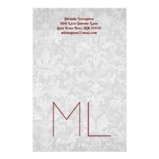 Silver and Burgundy Custom Address and Monogram Stationery