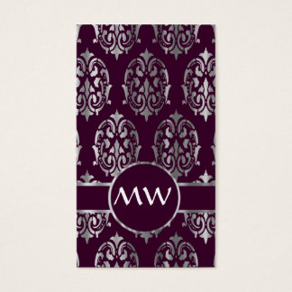 Silver and burgundy damask monogram business card