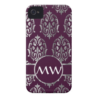 Silver and burgundy damask monogram Case-Mate iPhone 4 cases