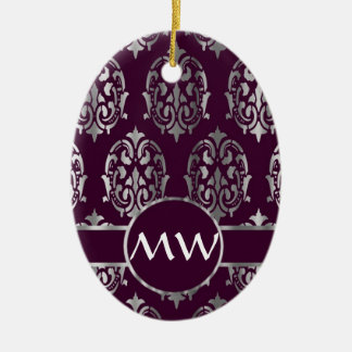 Silver and burgundy damask monogram ceramic ornament