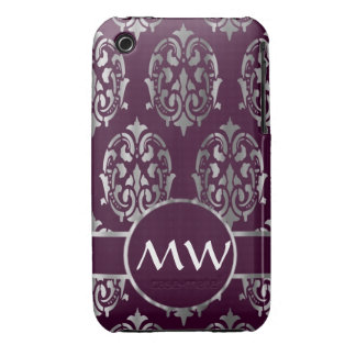 Silver and burgundy damask monogram iPhone 3 Case-Mate case