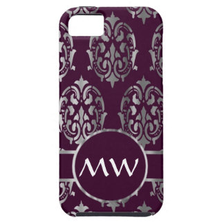 Silver and burgundy damask monogram iPhone SE/5/5s case