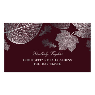 Silver and Burgundy Fall Leaves Elegant Business Card