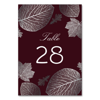 Silver and Burgundy Fall Leaves Wedding Card