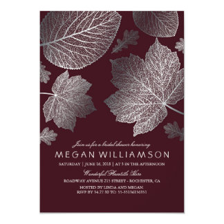 Silver and Burgundy Leaves Fall Bridal Shower Card