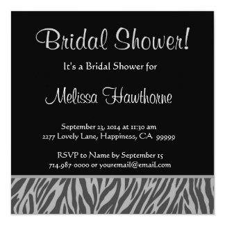 Silver and Charcoal Zebra Square Bridal Shower Card