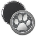SILVER AND CHROME PAW PRINT 2 INCH ROUND MAGNET