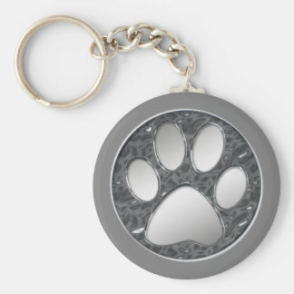 SILVER AND CHROME PAW PRINT KEYCHAIN