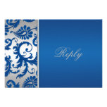 Silver and Cobalt Blue Damask Reply Card Custom Invites