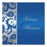 Silver and Cobalt Blue Damask Wedding Invitation