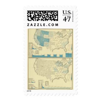 Silver and copper mining regions postage stamp