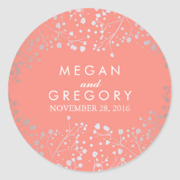 Silver and Coral Baby's Breath Wedding Classic Round Sticker