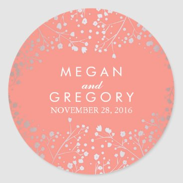 Toddler & Baby themed Silver and Coral Baby's Breath Wedding Classic Round Sticker