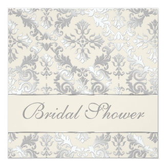 Silver and Creme Elegant Damask Bridal Shower Card