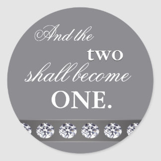 Silver and crystal - and the two shall become one classic round sticker