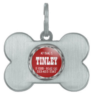 Silver and Deep Red | DIY Name Pet ID Tag