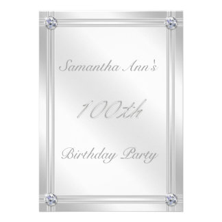 Silver and Diamond Effect 100th Birthday Party Personalized Announcements