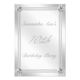 Silver and Diamond Effect 70th Birthday Party Custom Announcement