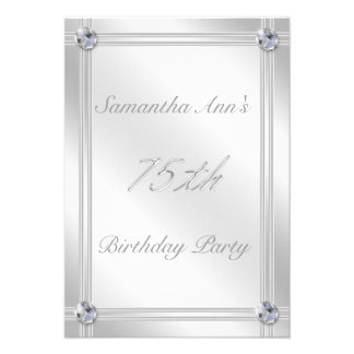 Silver and Diamond Effect 75th Birthday Party Invite