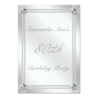 Silver and Diamond Effect 80th Birthday Party Invites