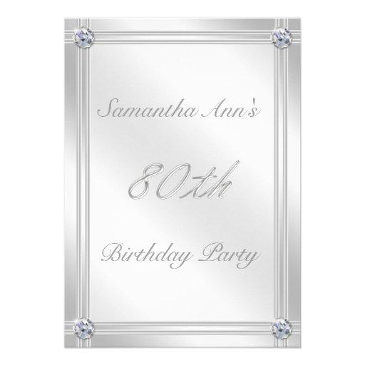 Silver and Diamond Effect 80th Birthday Party Custom Invite