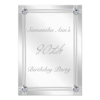 Silver and Diamond Effect 90th Birthday Party Personalized Announcement