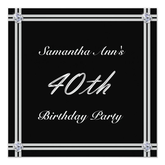 Silver and Diamond on Black, 40th Birthday Party Card